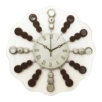 Chocolate Silver Round Wooden Wall Clock