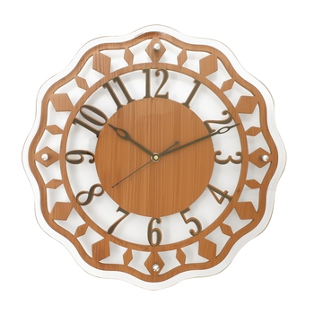Brown Round Wooden Wall Clock