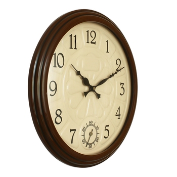 Dark Brown Round Wooden Wall Clock