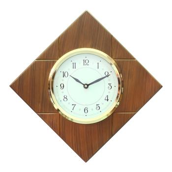 Brown Polygonal Wooden Frame & Circular Dial Analog Wall Clock (33Cm X 33Cm)