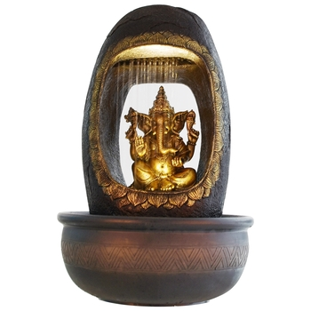 Lord Ganesh And Round Textured Water Fountain