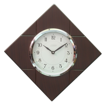 Brown Polygonal Wooden Frame & Circular Dial Analog Wall Clock (33Cm X 33Cm)