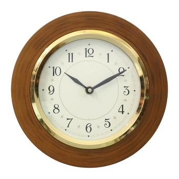 Brown Wooden Frame Circular Dial Analog Wall Clock (20Cm X 20Cm)