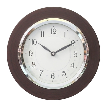 Brown Wooden Frame Circular Dial Analog Wall Clock (20Cm X 20Cm)