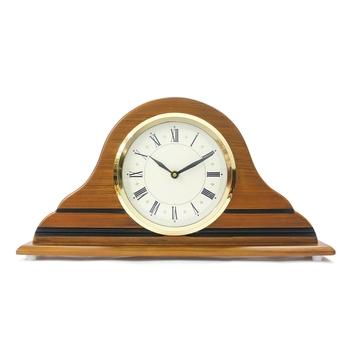 Brown Designer Wooden Frame & Circular Dial Analog Table Clock (21Cm X 40Cm)