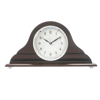 Brown Designer Wooden Frame & Circular Dial Analog Table Clock (21Cm X 40Cm)