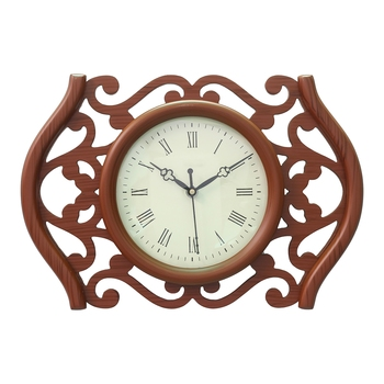 Brown Designer Wooden Carved Circular Dial Analog Wall Clock (23Cm X 35Cm)