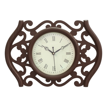 Brown Designer Wooden Carved Circular Dial Analog Wall Clock (23Cm X 35Cm)