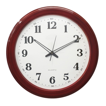 Red Circular Dial Contemporary Analog Wall Clock (50Cm X 50Cm)