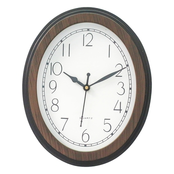 Brown Wooden Oval Dial Contemporary Analog Wall Clock (24Cm X 19Cm)