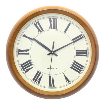 Golden Brown Circular Dial Contemporary Analog Wall Clock (24Cm X 19Cm)