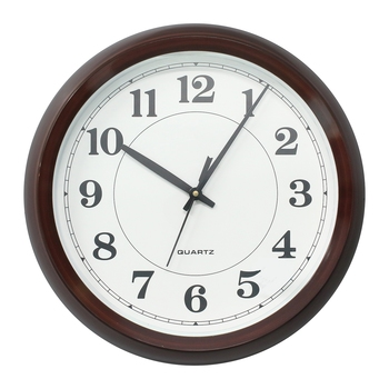Brown Circular Dial Contemporary Analog Wall Clock (24Cm X 19Cm)