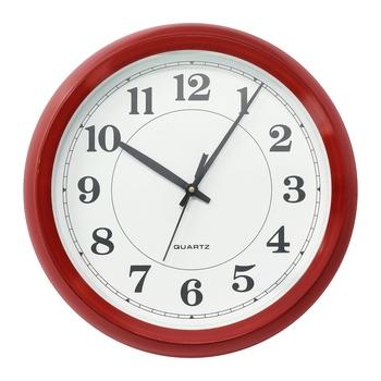 Red Circular Dial Contemporary Analog Wall Clock (24Cm X 19Cm)