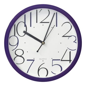 Purple Circular Dial Contemporary Analog Wall Clock With Embossed Numerals (25Cm X 25Cm)