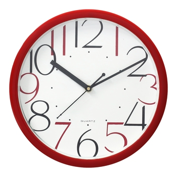 Red Circular Dial Contemporary Analog Wall Clock With Embossed Numerals (25Cm X 25Cm)
