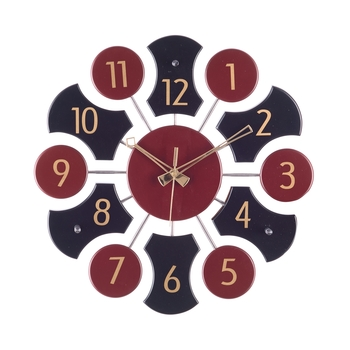 Premium Decorative Analog Black and Brown Round Wooden Wall Clock
