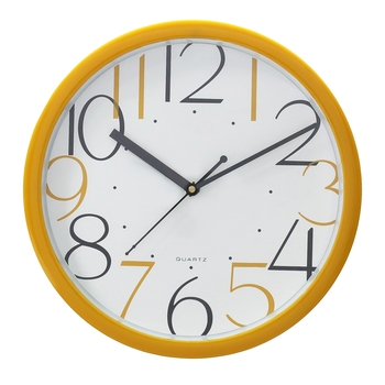 Yellow Circular Dial Contemporary Analog Wall Clock With Embossed Numerals (25Cm X 25Cm)