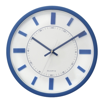 Blue Circular Dial Contemporary Analog Wall Clock With Curved Glass Front Panel(30Cm X 30Cm)