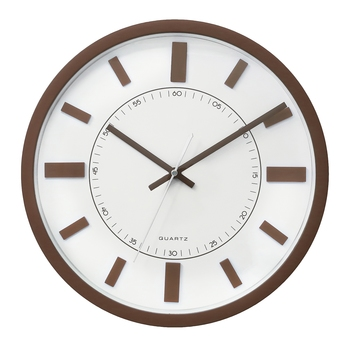 Brown Circular Dial Contemporary Analog Wall Clock With Curved Glass Front Panel(30Cm X 30Cm)