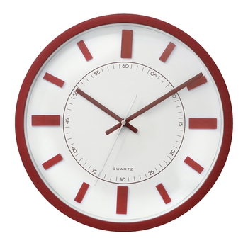 Red Circular Dial Contemporary Analog Wall Clock With Curved Glass Front Panel