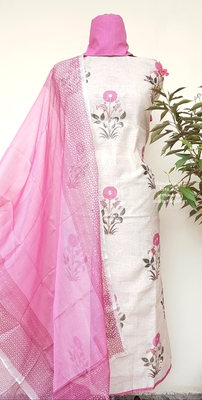 Almond Cream Chanderi Unstitched Suit Fabric