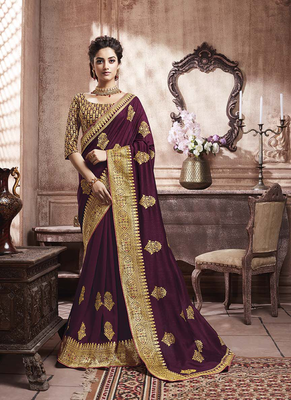 Wine woven art silk saree with blouse