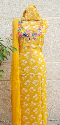 yellow Muslin Silk Unstitched Suit Fabrics