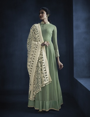 Green embroidered faux georgette kameez with dupatta