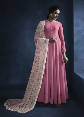 Pink embroidered faux georgette kameez with dupatta