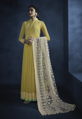 Yellow embroidered faux georgette kameez  with dupatta