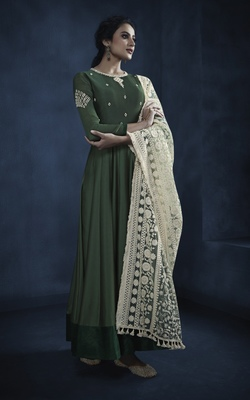 Dark-green embroidered faux georgette kameez with dupatta