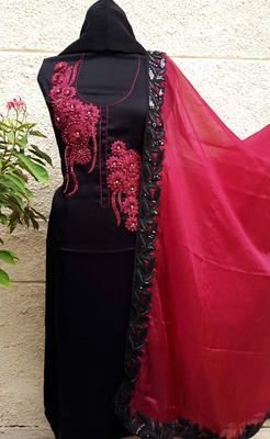 Unstitched Black Soft Silk Suit Fabric