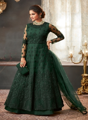 Dark-green embroidered net salwar