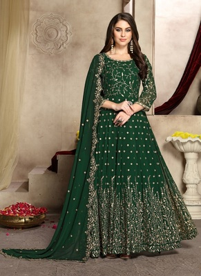 Dark-green embroidered georgette salwar