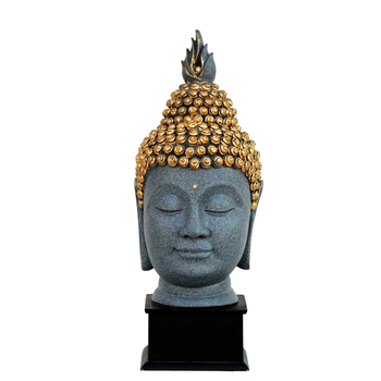 Gray Golden Handcrafted Lord Buddha Head with Stand