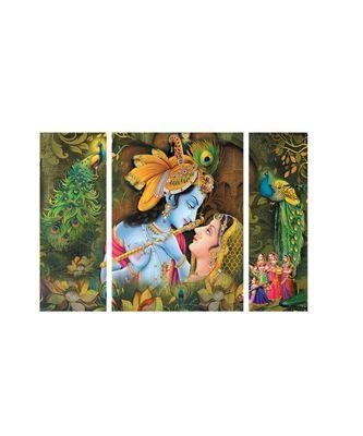 Set of 3 Radha Krishna Premium Canvas Painting
