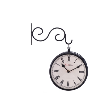Handcrafted Antique & Vintage Station Wall Clock (Dual View - Dial Size 8 Inch) - Black Color