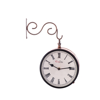 Handcrafted Antique & Vintage Station Wall Clock (Dual View - Dial Size 8 Inch) - Brown Color