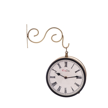 Handcrafted Antique & Vintage Station Wall Clock (Dual View - Dial Size 8 Inch) - Golden Color