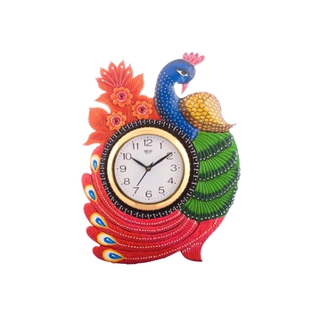 Exotic and Stylish Colorful Peocock Wooden Handcrafted Wooden Wall Clock (H - 16.5 Inch)