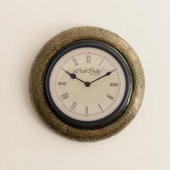 Embossed Golden Art Antique Wooden Handcrafted Wall Clock
