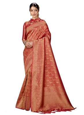 Maroon brasso silk saree with blouse