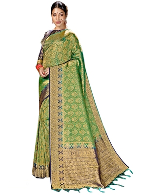 Green brasso silk saree with blouse