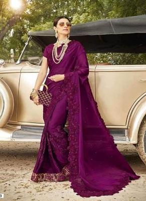 dark magenta embroidered georgette saree with blouse