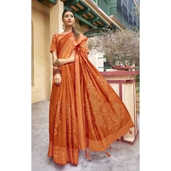Orange printed cotton saree with blouse