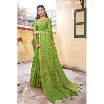 Lime printed cotton saree with blouse