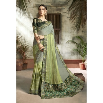 Light green printed chiffon saree with blouse