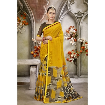 Yellow printed georgette saree with blouse
