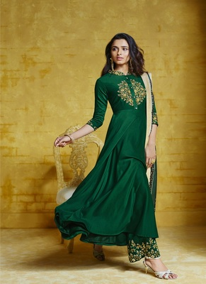Dark-green embroidered silk salwar