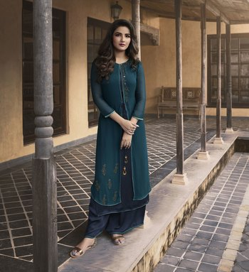 Teal-blue plain georgette ethnic-kurtis